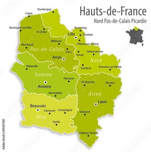 Carte Région Hauts-de-France (Nord Pas-de-Calais Picardie) Fototapeta