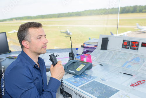 man in the air control tower Canvas Print