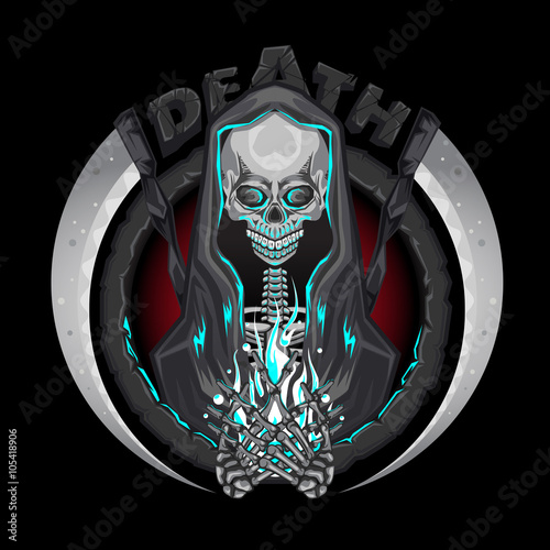 Photo  Death Skeleton Grim Reaper Characters With Scythe Emblem Logo Holding Human Soul