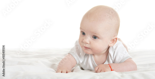 Fototapety, obrazy: Adorable baby boy   on blanket