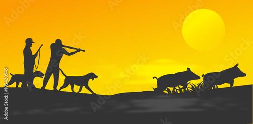 chasse et chasseurs de sangliers bannière Fotobehang
