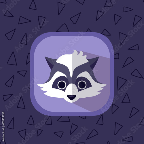 Little cute baby raccoon flat icon  Forest animal with