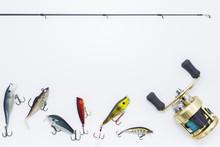 Fishing Gear On  White Backgro...
