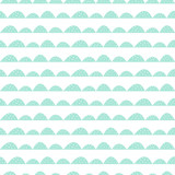 Scandinavian seamless mint pattern in hand drawn style. Stylized hill rows. Wave simple pattern for fabric, textile and baby linen. - 105427155