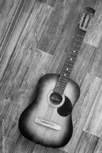 Plakat na zamówienie Acoustic guitar on wooden background