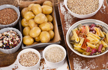 Healthy Food: Best Sources Of Carbs On A Wooden Table.