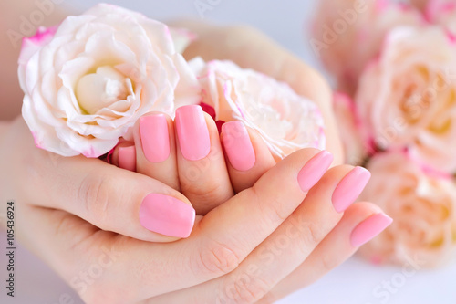 Hands of a woman with pink manicure on nails  and roses Poster
