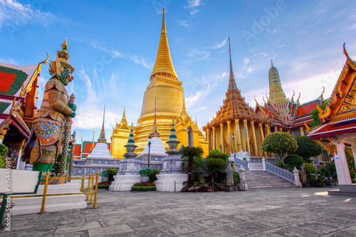 Photo Stands Bangkok Wat Phra Kaew Ancient temple in bangkok Thailand