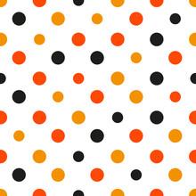 Orange Polka Dot White Background Vector Illustration
