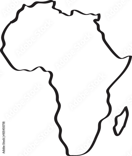 Freehand sketch Africa map on white background. Vector