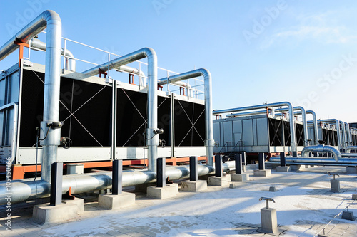 Stampe  Sets of cooling towers in data center building.