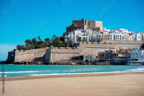 Peniscola castle, view from the beach. Spain