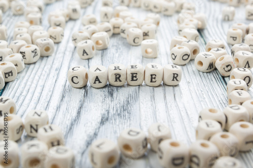 Photo  Wood Blocks with the word Career. Wooden ABC