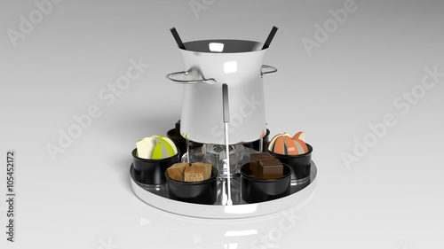 Chocolate Fondue With Fruit And Cookies On A Round Silver