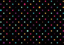 Colorful Dots Black Background Vector Illustration