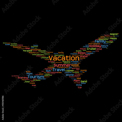 cheap for discount c29b9 58a46 Conceptual travel or tourism plane word cloud