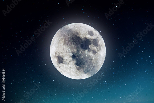 Foto op Plexiglas Indonesië Photography of nightly sky with large moon and stars