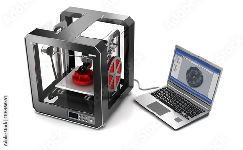 Fotografie, Obraz  3d printer connected to laptop computer on a white background