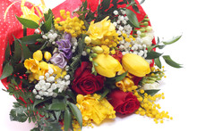 Bunch Of Flowers With Roses An...