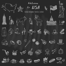 Hand Drawn Doodle USA Set Vect...
