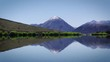 Snow capped mountain mirrored in lake, New Zealand. Static shot.