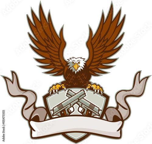 Fotografie, Obraz  Bald Eagle Crossed 45 Caliber Pistols Shield Retro