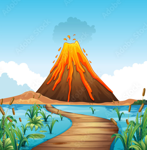 Staande foto Kids Nature scene with volcano eruption by the lake