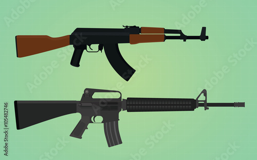 ak-47 vs m16 comparation with green backround Canvas Print