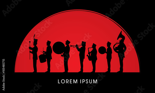 Fotomural Silhouette Marching Band, parade, on sun rise background ,graphic vector