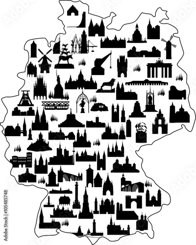 Deutschland Karte Sehenswürdigkeiten // Vektor – kaufen Sie diese