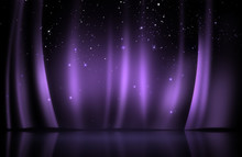 Purple Curtain On Stage With S...