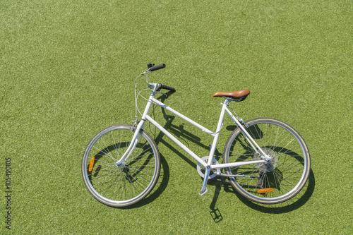 Deurstickers Fiets Vintage bike on lawn