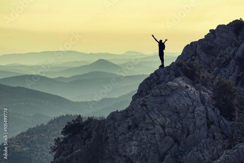 Fotografie, Obraz zirve tırmanış başarısı & hedef mutluluğu