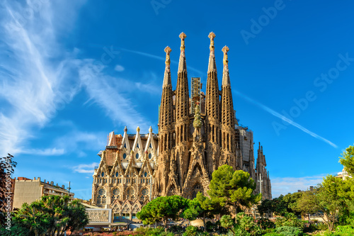 Photo Stands Barcelona Nativity facade of Sagrada Familia cathedral in Barcelona