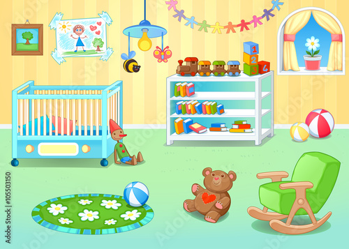 Poster Chambre d enfant Funny nursery with toys
