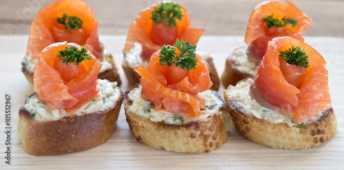 canapes with red fish