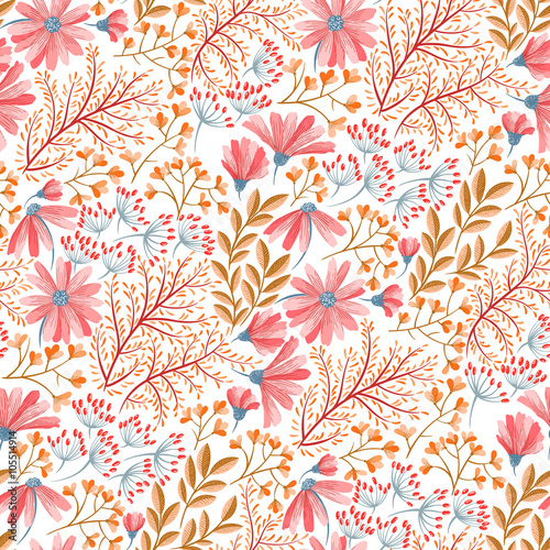 Cotton fabric Spring floral pattern