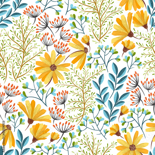 Spring floral pattern Wallpaper Mural