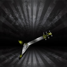 Raster Version Electric Guitar In Perspective On A Dark Background Uno