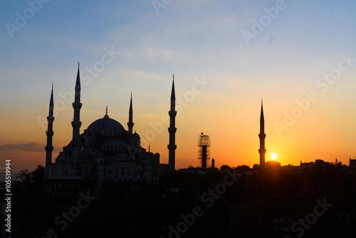 Poster Turquie blaue moschee blaue stunde sonnenuntergang istanbul türkei