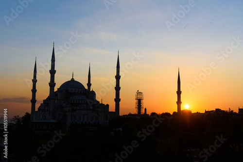 Fotografie, Obraz  blaue moschee blaue stunde sonnenuntergang istanbul türkei