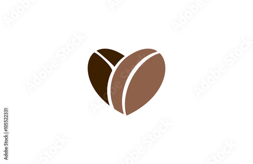 Slika na platnu love coffee beans heart abstract logo