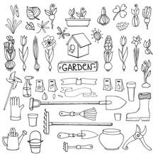Spring Garden Doodles.Flowers,bulbs,plants,tools