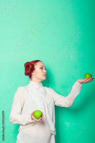Photo  beautiful sexy girl Leia Organa Solo with green apple