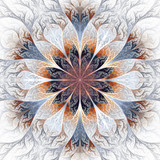 Beautiful fractal flower in gray, brown and blue. Computer gener - 105526738