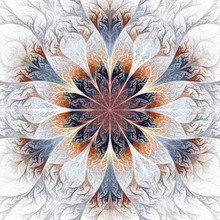 Beautiful Fractal Flower In Gray, Brown And Blue. Computer Gener