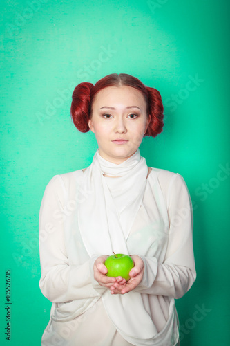 beautiful sexy girl Leia Organa Solo with green apple Canvas Print