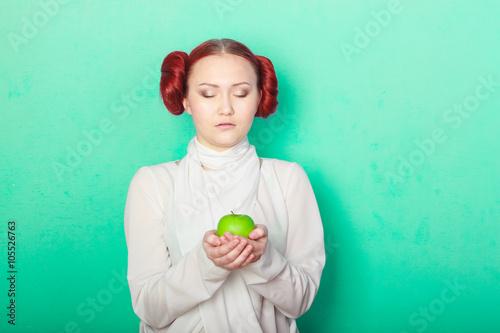beautiful sexy girl Leia Organa Solo with green apple Wallpaper Mural
