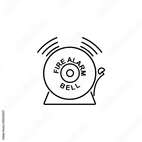 Security Set Fire Alarm Bell Line Icon