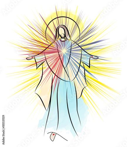 Fotografia, Obraz Risen Lord Jesus Christ Easter vector illustration